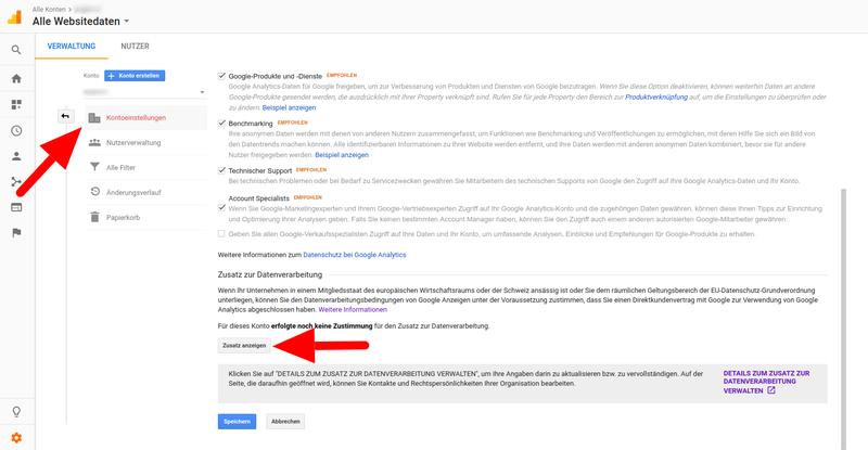 Auftragsverarbeitung Google Analytics
